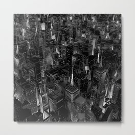 Night city glow B&W / 3D render of night time city lit from streets below in black and white Metal Print