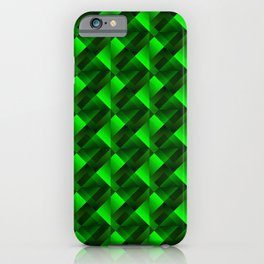 Tile of bright green squares and triangles in dark. iPhone Case