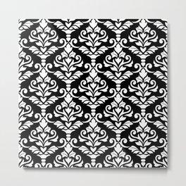 Cresta Damask Pattern White on Black Metal Print