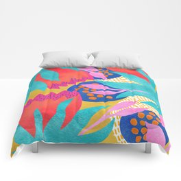 Bold Flower Pattern Yellow Background Comforters