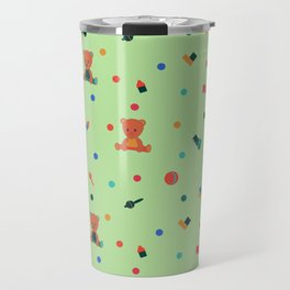 Green Pattern with toys. Teddy bear and toys. Travel Mug