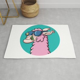cool llama with sunglasses Rug
