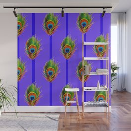 Decorative Contemporary  Peacock Feathers Art Wall Mural