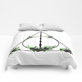Deathly Hallows in Green and Gray Comforters