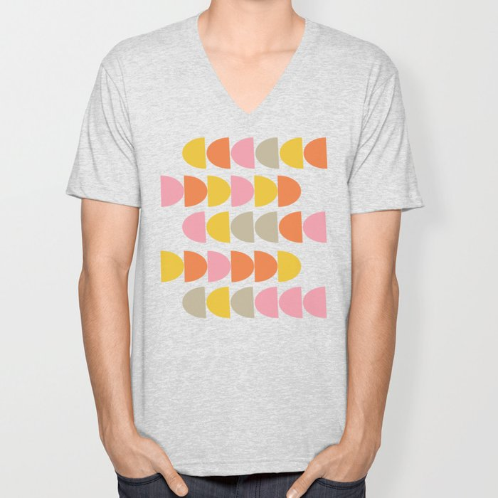 Cute Geometric Shapes Pattern in Pink Orange and Yellow Unisex V-Neck