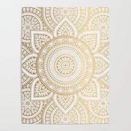 Gold Mandala Pattern Illustration With White Shimmer Poster