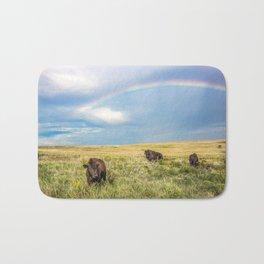 Rainbows and Bison - Buffalo on the Tallgrass Prairies of Oklahoma Bath Mat