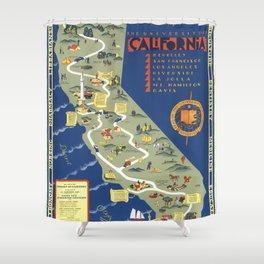 CALIFORNIA University map MAP Berkeley Shower Curtain