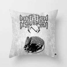 Decapitated by dishwasher I (white) Throw Pillow