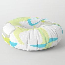 Mid-Century Modern Rectangle Design Blue Green and Gray Floor Pillow