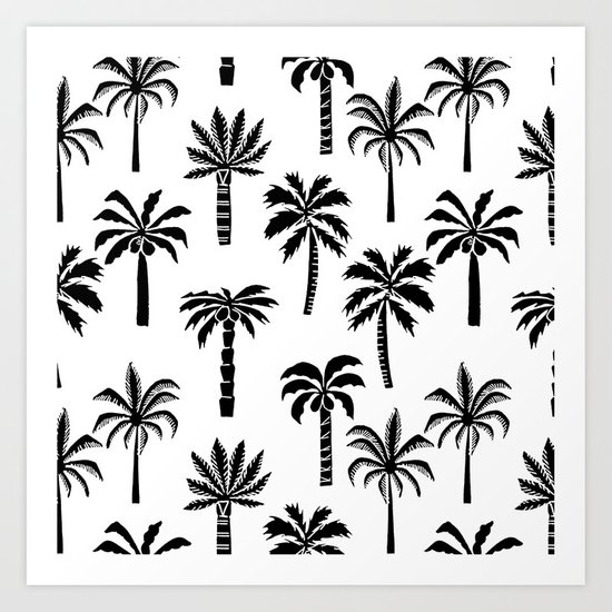 Palm Trees linocut black and white tropical summer art minimalist decor Art Print