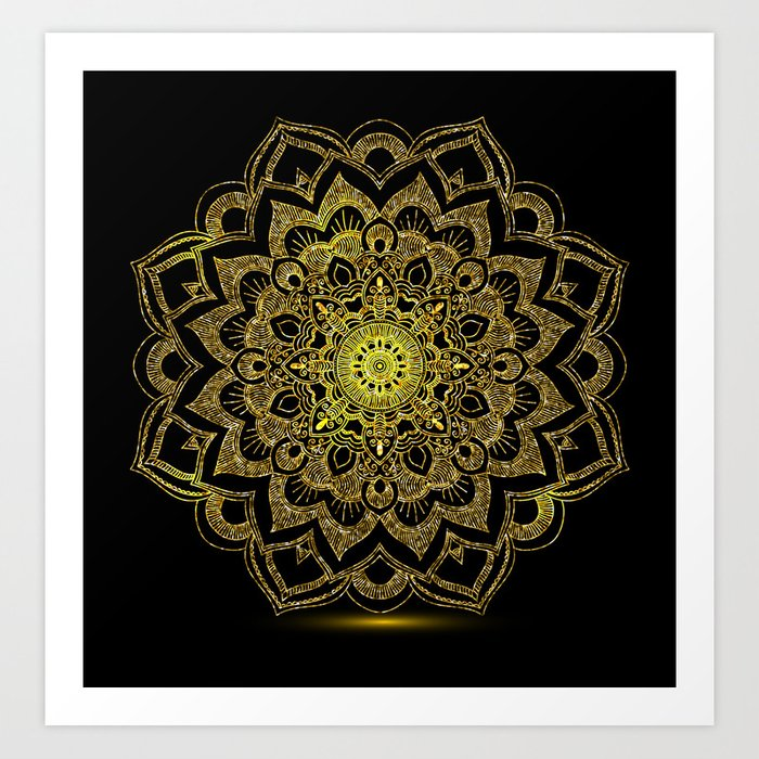 Golden Mandala Art Print