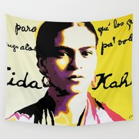 frida kahlo Wall Tapestries featuring Frida Kahlo  by Carlos Apartado