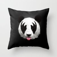 panda Throw Pillows featuring Kiss of a panda by Robert Farkas