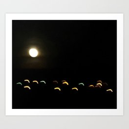 the moon plays with lights Art Print