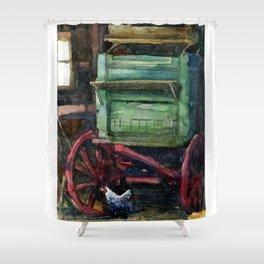 Wandering Hen- watercolor illustration Shower Curtain