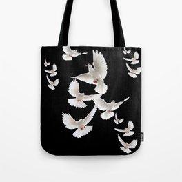 WHITE PEACE DOVES ON BLACK COLOR DESIGN ART Tote Bag