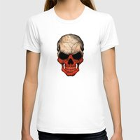 poland T-shirts featuring Dark Skull with Flag of Poland by Jeff Bartels
