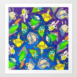 Rockos Modern Life Nickelodeon 90s pattern Art Print