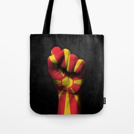 Macedonian Flag on a Raised Clenched Fist Tote Bag