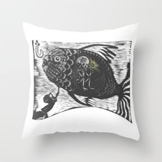 Hungry Fish Throw Pillow