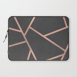 Dark Grey and Rose Gold Textured Fragments - Geometric Design Laptop Sleeve