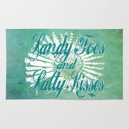 Sandy Toes and Salty Kisses with Nautilus Shell Graphic Design Rug