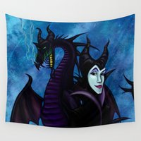 maleficent Wall Tapestries featuring Maleficent by Kimberly Castello