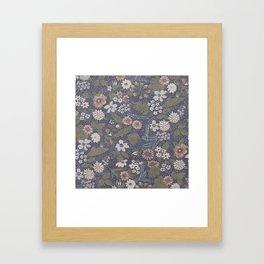 Seafoam Floral Pattern Framed Art Print