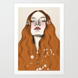 Red mermaid Art Print