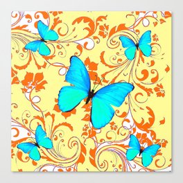 DECORATIVE BLUE BUTTERFLIES YELLOW FLORAL PATTERN Canvas Print