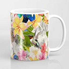 tiger and colorful flowers Coffee Mug