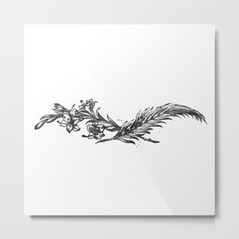 Flowers and feather Metal Print