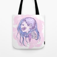 gore Tote Bags featuring Pastel Gore Girl by Savannah Horrocks