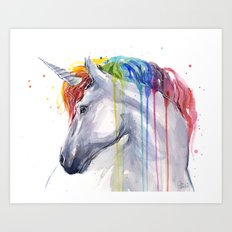Rainbow Unicorn Watercolor Animal Magical Whimsical Animals Art Print