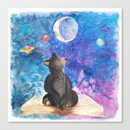 Surreal Bear Cub with Moon Balloon, Books and Imagination Canvas Print