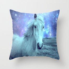 Blue Horse Celestial Dreams Throw Pillow