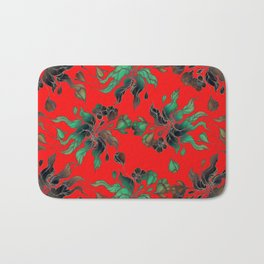 Vintage floral seamless pattern with hand drawn flowering crocus on the red background Bath Mat