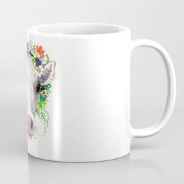Cow and Flowers, Cow head floral Farm cattle head famr animals Coffee Mug