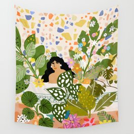 Bathing with Plants Wall Tapestry