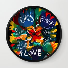 Birds & Flowers of Love Abstract Art Pattern Illustration Wall Clock