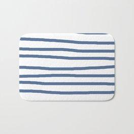 Simply Drawn Stripes in Aegean Blue and White Bath Mat