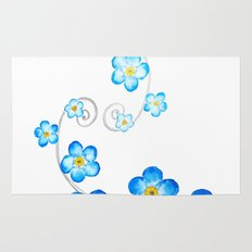 blue forget me not watercolor 2017 Rug