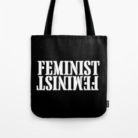 feminist Tote Bags featuring Feminist by Retro Designs