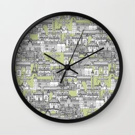 Paris toile eau de nil Wall Clock
