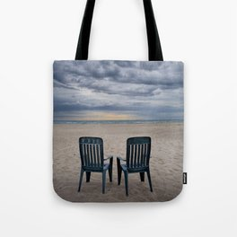 Sunrise on the Beach with Two Chairs at Oscoda Michigan Tote Bag