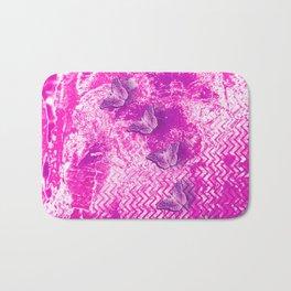 Hot pink grunge butterflies Bath Mat