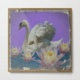 Grungy White Swan & Water Lilies Lilac Art Patterns Metal Print