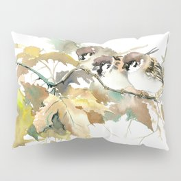Sparrows and Fall Tree, three birds, brown green fall colors Pillow Sham