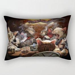 Cats play poker Rectangular Pillow